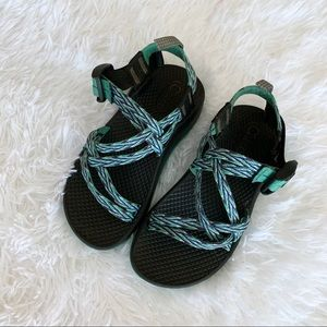 Chaco Green and Purple Kids ZX/1 EcoTread Sandals